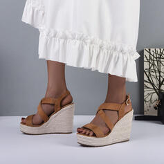 Women's Suede Wedge Heel Sandals Wedges Peep Toe Heels Round Toe With Buckle Hollow-out Solid Color shoes