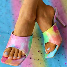 Women's PU Stiletto Heel Sandals Pumps Peep Toe Slippers Heels With Splice Color shoes