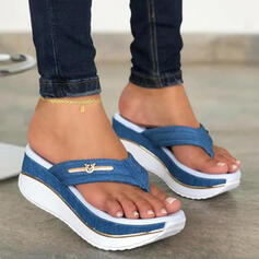 Women's PU Wedge Heel Sandals Platform Wedges Peep Toe Flip-Flops Slippers Heels With Hollow-out Splice Color shoes