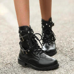 Women's PU Chunky Heel Boots Ankle Boots Martin Boots Round Toe With Buckle Lace-up Solid Color shoes