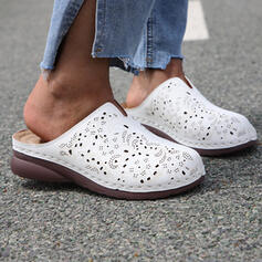 Women's Real Leather Low Heel Sandals Flats Wedges Slippers With Hollow-out shoes