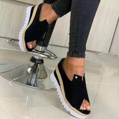 Women's Suede Wedge Heel Sandals Platform Wedges Peep Toe Slippers Low Top With Buckle Solid Color shoes