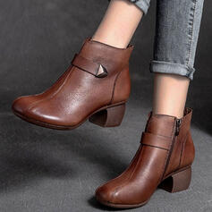 Women's Leatherette Chunky Heel Ankle Boots Round Toe With Rivet Zipper Solid Color shoes