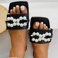 Women's PU Flat Heel Sandals Flats Peep Toe Slippers With Imitation Pearl shoes