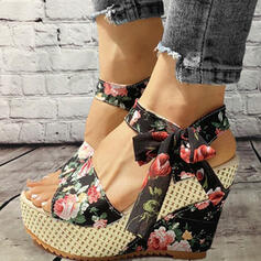 Women's Cloth Wedge Heel Sandals Platform Wedges Peep Toe With Bowknot Lace-up shoes