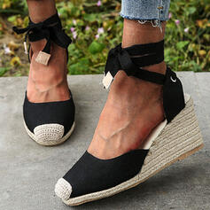 Women's Cloth Wedge Heel Sandals Platform Closed Toe Wedges With Bowknot Lace-up Splice Color shoes