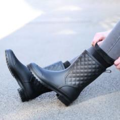 Women's Men's PU Flat Heel Boots Mid-Calf Boots Round Toe With Solid Color shoes