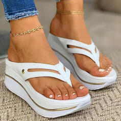 Women's PU Wedge Heel Sandals Peep Toe Flip-Flops Slippers With Hollow-out Solid Color shoes