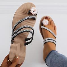 Women's PU Flat Heel Sandals Slippers Toe Ring With Rhinestone Imitation Pearl shoes