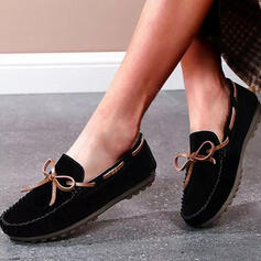Women's Leatherette Flat Heel Flats Low Top Slip On With Bowknot Solid Color shoes