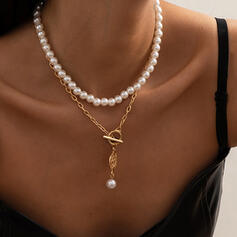 With Gold Plated Women's Ladies' Necklaces 2 PCS