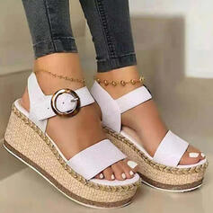 Women's PU Wedge Heel Sandals Wedges Peep Toe With Buckle Solid Color shoes