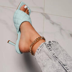 Women's PU Stiletto Heel Sandals Pumps Peep Toe Square Toe Heels With Solid Color shoes