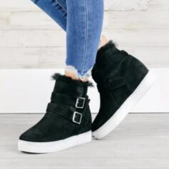 Women's PU Flat Heel Flats Round Toe Sneakers With Buckle Splice Color shoes