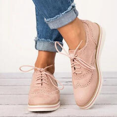 PU Flat Heel Flats With Lace-up shoes