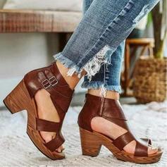 Women's PU Chunky Heel Sandals Pumps Platform Peep Toe Heels With Buckle Solid Color shoes