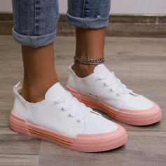 Women's Denim Flat Heel Flats Round Toe Sneakers With Lace-up Splice Color shoes