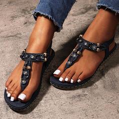 Women's Leatherette Flat Heel Sandals Flip-Flops With Rhinestone Elastic Band shoes