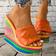 Women's Leatherette Wedge Heel Sandals Platform Wedges Peep Toe Slippers With Splice Color shoes