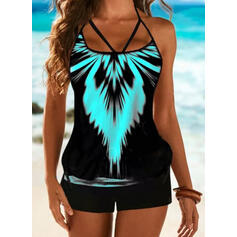 Print Halter Vintage Plus Size Casual Tankinis Swimsuits