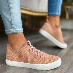Women's Flying Weave Flat Heel Flats Low Top With Lace-up shoes