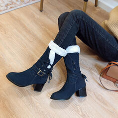 Women's Denim Chunky Heel Mid-Calf Boots Pointed Toe Winter Boots With Buckle Lace-up Colorblock shoes