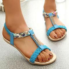 Women's PU Flat Heel Sandals Wedges Peep Toe Slippers Heels With Rhinestone Flower Braided Strap shoes