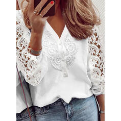 Solid Lace V-Neck 3/4 Sleeves Puff Sleeve Elegant Blouses
