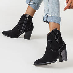 Women's Suede Chunky Heel Ankle Boots Low Top Heels Pointed Toe With Zipper Solid Color shoes