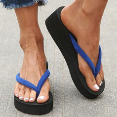 Women's PVC Wedge Heel Sandals Wedges Flip-Flops Slippers Heels With Splice Color shoes
