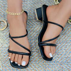 Women's PU Chunky Heel Sandals Heels With Elastic Band shoes