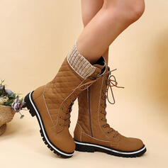 Women's PU Flat Heel Boots Mid-Calf Boots Round Toe With Lace-up Splice Color shoes