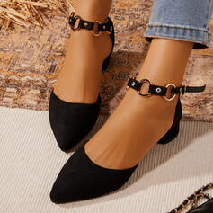 Women's Leatherette Chunky Heel Mary Jane Heels Pointed Toe With Buckle shoes