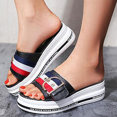Women's PU Wedge Heel Sandals Platform Wedges Peep Toe Slippers With Buckle Letter Splice Color shoes