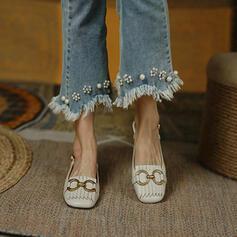 Women's PU Flat Heel Sandals Flats Closed Toe Square Toe With Buckle Tassel shoes