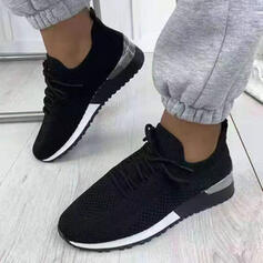 Women's Flying Weave Flat Heel Flats Low Top Round Toe Sneakers With Lace-up Solid Color shoes