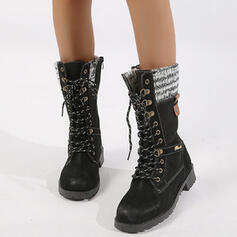 Women's Leatherette Low Heel Mid-Calf Boots Martin Boots Round Toe With Rivet Zipper Lace-up shoes