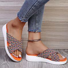 Women's Suede Wedge Heel Sandals Flats Wedges Peep Toe Slippers With Crisscross Floral Print shoes