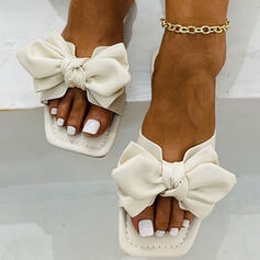 Women's PU Flat Heel Sandals Flats Peep Toe Slippers With Bowknot Solid Color shoes