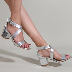 Women's PU Chunky Heel Sandals Pumps Peep Toe Heels With Buckle Hollow-out Solid Color shoes