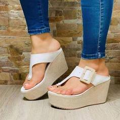 Women's PU Wedge Heel Sandals Wedges Peep Toe Flip-Flops Slippers Heels Round Toe With Buckle Solid Color shoes