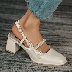Women's PU Chunky Heel Pumps Closed Toe With Buckle Solid Color shoes