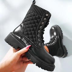 Women's Leatherette Chunky Heel Ankle Boots Martin Boots Round Toe With Lace-up Solid Color shoes