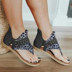 Women's PU Flat Heel Sandals Peep Toe Flip-Flops With Rivet Animal Print Zipper shoes