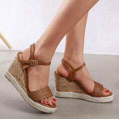 Women's PU Wedge Heel Sandals Platform Wedges Peep Toe With Buckle Braided Strap shoes