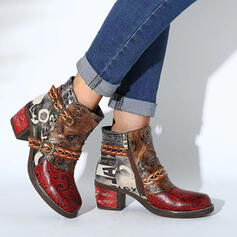 Women's PU Chunky Heel Boots Ankle Boots Pointed Toe With Zipper Splice Color Floral Print shoes