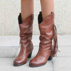 Women's PU Chunky Heel Boots Mid-Calf Boots With Solid Color shoes