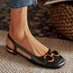 Women's PU Low Heel Sandals Flats Closed Toe With Hollow-out Solid Color shoes