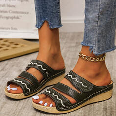 Women's PU Flat Heel Sandals Flats Peep Toe Slippers With Hollow-out shoes