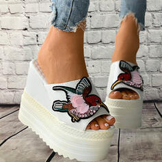Women's PU Wedge Heel Sandals Platform Wedges Peep Toe Slippers Heels With Applique Hollow-out shoes